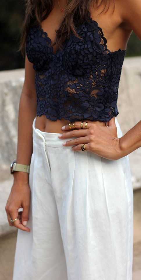 Black Lace Crop Cami + White Pants. || Follow us on Instagram // @smtofficial x