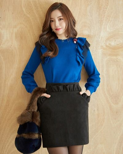 Frill Trim Mini Skirt CHLO.D.MANON   #cute #frill #skirt #koreanfashion #kstyle #kfashion #fwtrend #seoul #dailylook