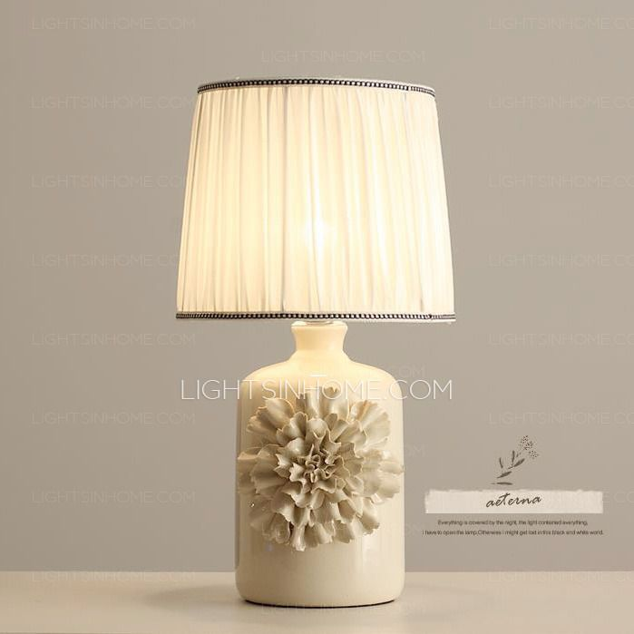 Decorative Ivory Fabric Shade Carved, Ivory Ceramic Table Lamps