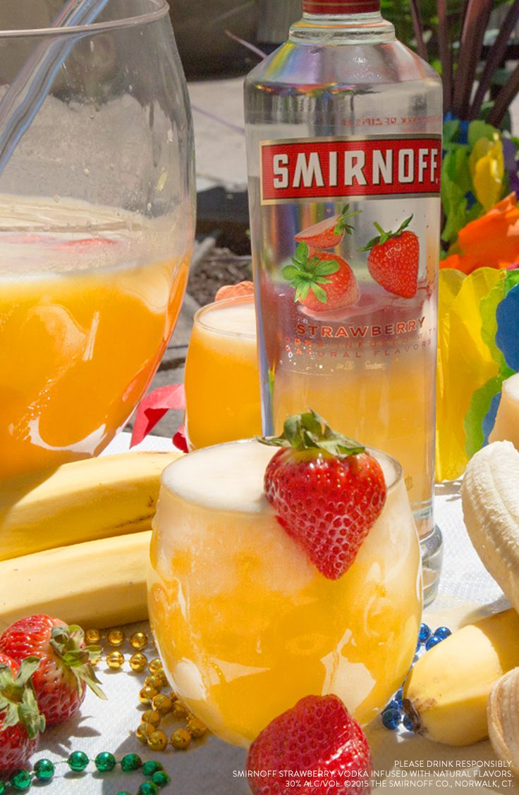 BANANA PUNCH is a great summer drink for Pride parties,BBQs, and great times outside. Ingredients: 1.5 Cups Smirnoff Strawberry, 1.5 Cups Orange Juice, 2 Cups Lemon Lime Soda, 2-3 Blended Bananas, Serves 8