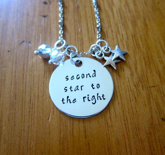 "Peter Pan Necklace. Inspired by Disney's Peter Pan. ""Second Star To The Right"" and straight on til morning! Made with genuine Swarovski crystals and 2 stars on the right :) Hand Stamped by WithLoveFromOC on etsy, $22."