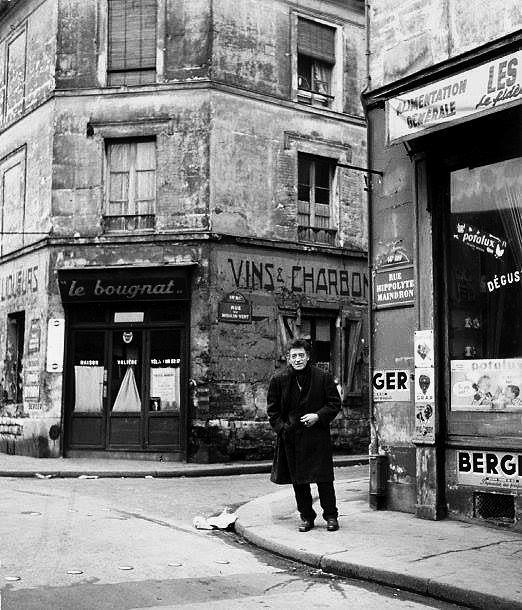 Giacometti, rue Hippolyte Maindron, Paris, 1958 by Robert Doisneau