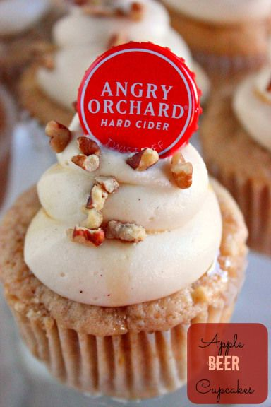Apple Beer Cupcakes~ The hard cider adds depth and flavor to these cupcakes.Top them off with a cream cheese frosting , drizzled with maple syrup and you can add this one to your Fall Favorite Recipes!