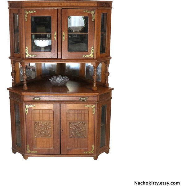 1870s Asian Victorian Corner Cabinet, Victorian Asian Carving, Beveled... ($5,500) ❤ liked on Polyvore featuring home, furniture, storage & shelves and display units
