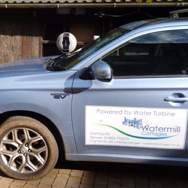Free electric car charging for guests, powered by our own water turbine at www.watermillcottages.co.uk