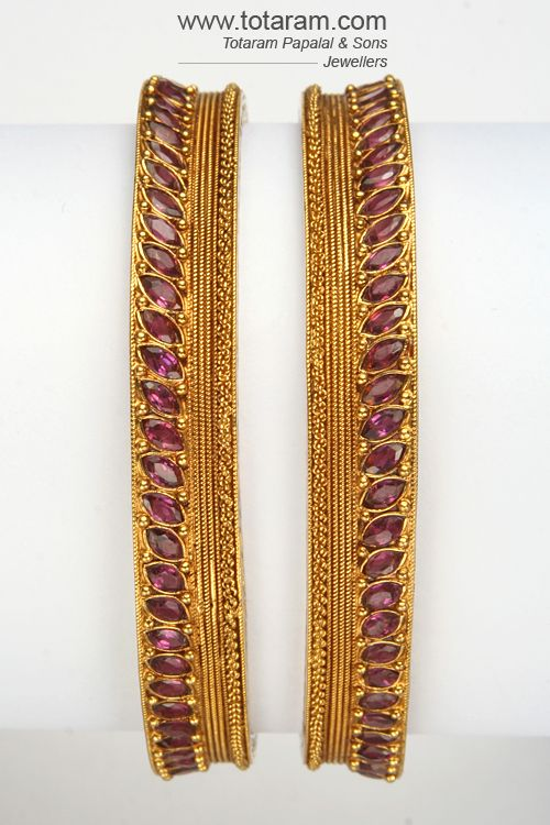 : 22K Gold and Ruby Antique Bangles
