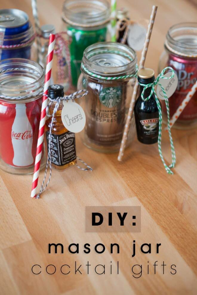 Mason jar cocktail gifts. Perfect for a white elephant gift or fun stocking stuffer.
