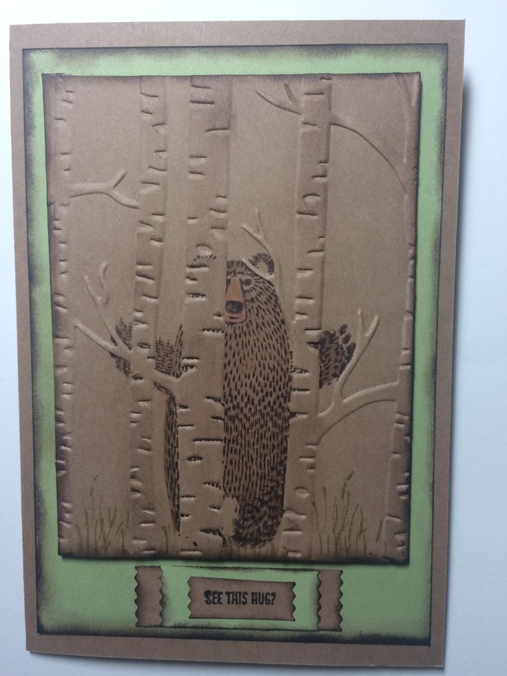 Stampin'up! Bear Hugs and Woodland E.F.. Designed and created by Sandy Mundy