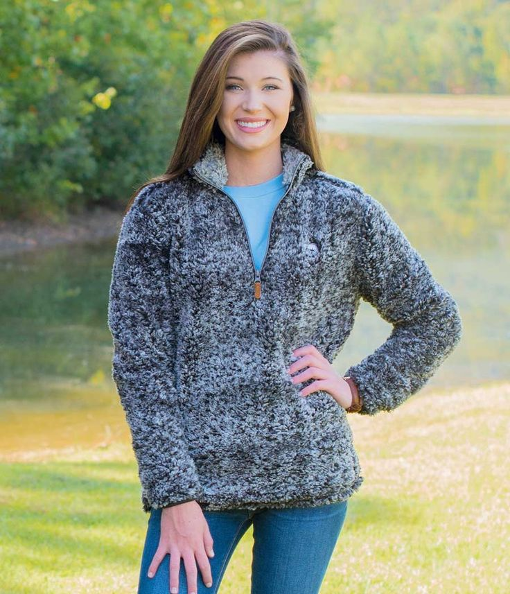 Southern Shirt Company Quarter Zip Sherpa Pullover in Heather Navy
