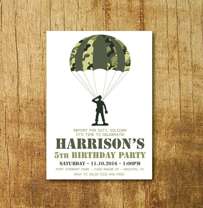 Camo Party Invitation- Soldier Party Invitation- Toy Soldier Party Invitation- Army Party Invitation by CrowningDetails on Etsy https://www.etsy.com/listing/491862743/camo-party-invitation-soldier-party