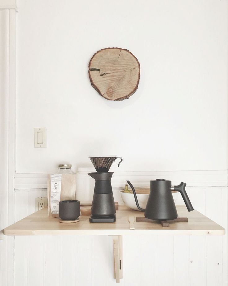 Scandinavian design inspired pour over coffee station. Stelton Theo Hario V60 Fellow Stag Kettle and Acaia Lunar scale.