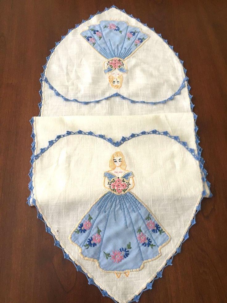 3 Vintage Embroidered Dresser Scarves Floral Basket Roses Girl in A Heart | eBay