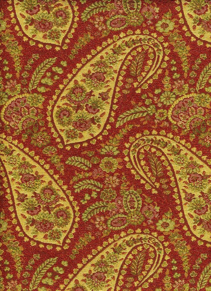 Waverly Red Upholstery Fabric Paisley Woven Red