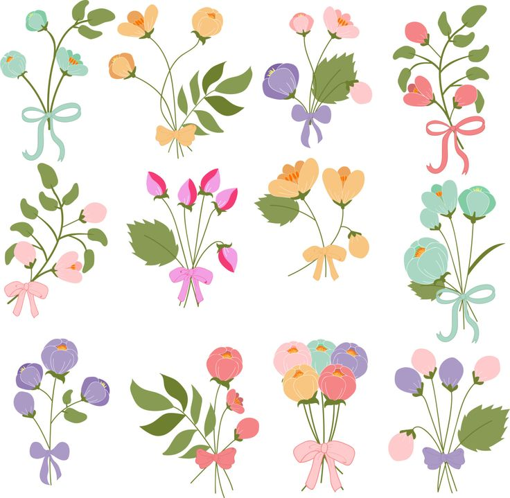 Bouquets of flowers with bows by Orangepencil on Etsy
