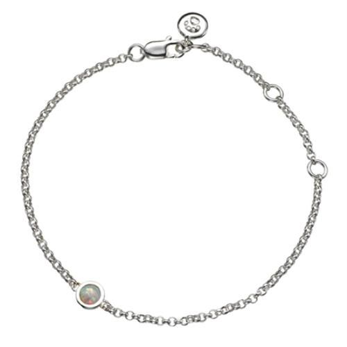 Get the perfect gift for a special little girl with this October Birthstone Bracelet from Molly Brown London's Collection 12. A rainbow glistening white opal gemstone set in a sterling silver open back claw.