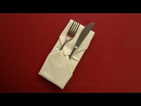 Napkin folding: Pocket - Napkin folding with silverware - How to fold napkins - DIY - YouTube