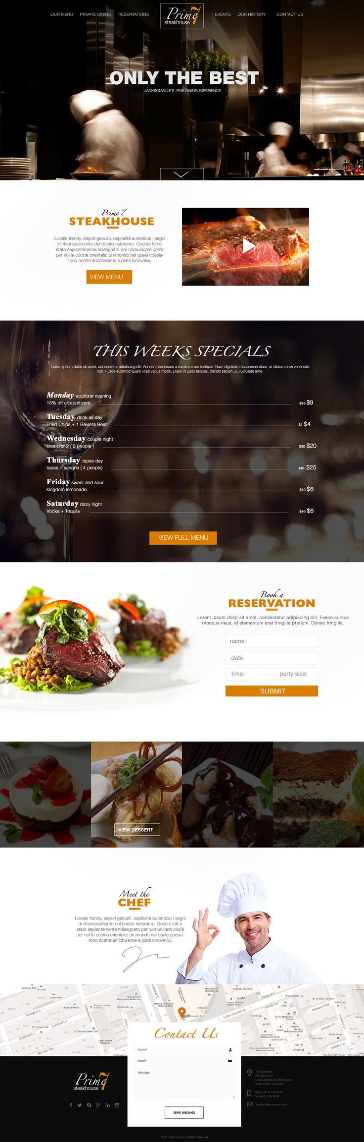 Design Concept for restaurant website design.