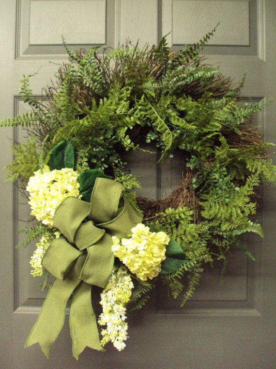 Door Wreath Spring Wreath Summer Wreath Wedding by PeriwinkleSilks,