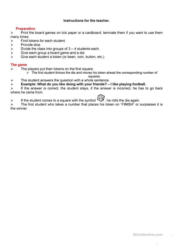Board game – personal information worksheet – Free ESL printable worksheets made…