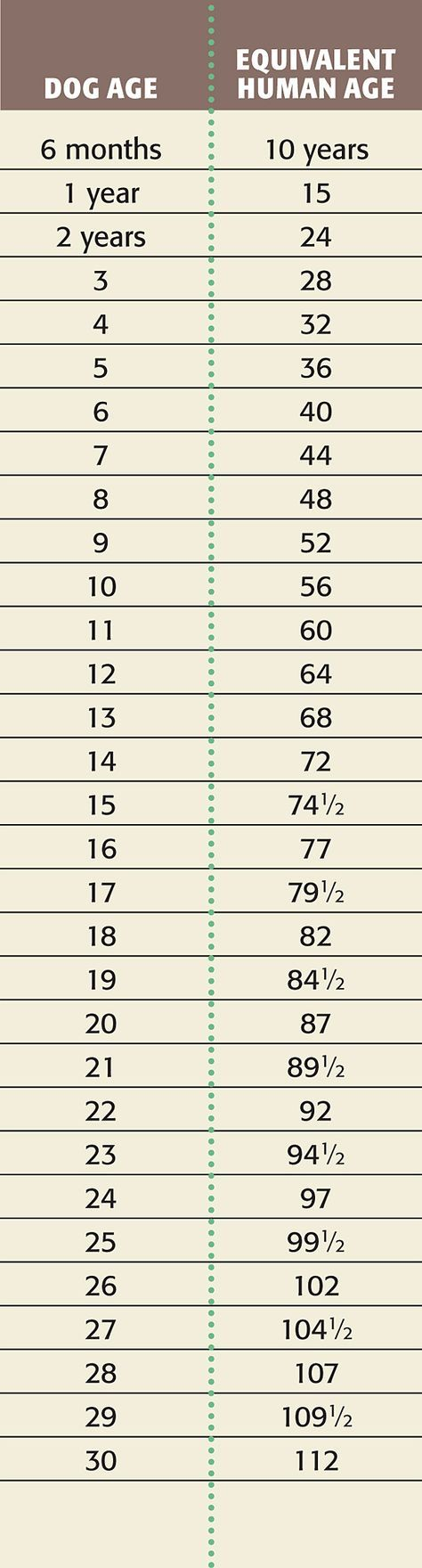 tabla para calcular la edad de tu perro.