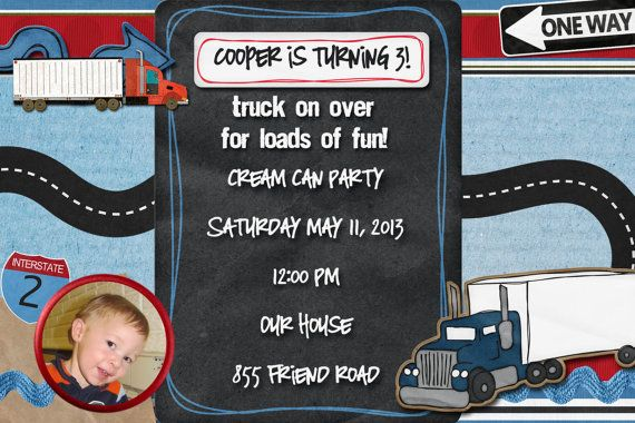semi truck birthday invitation by stacysscrapsnmore on