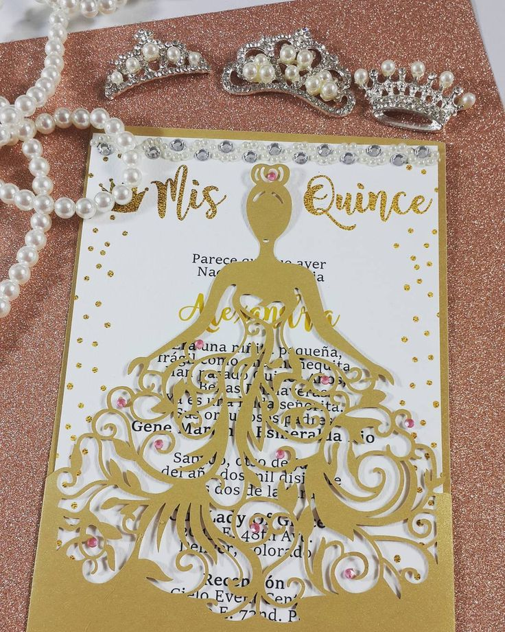 Laser Cut Dress Quinceanera Invitations. Also can be used for Sweet 16 Invitation, Bridal Shower Invitation, Fabulous 40 Invitation. by JinkysCrafts