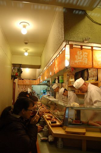Daiwa Sushi Bar, Japan - supposed to be the most popular sushi bar in the market. Tiny, long wait