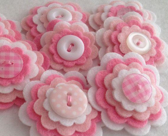BABY GIRL x3 Handmade Layered Felt Flower Button Embellishments, Felt Applique,Pinks and White