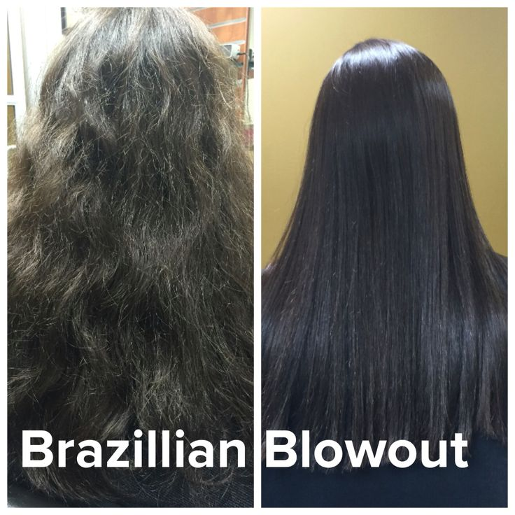 Before and after Brazillian Blowout treatment