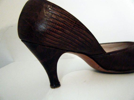 RARA de 1940 LIZAGATOR I. MILLER bombas, pin Up zapatos de 40 años, talla 9 1/2 9.5