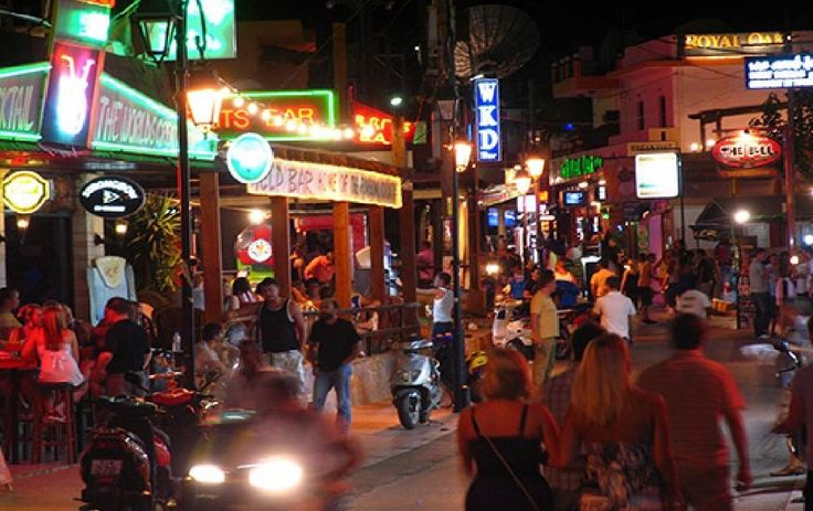 Malia Bar Street Malia Crete Greece at Night