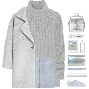 grey coat and baby blue skirt