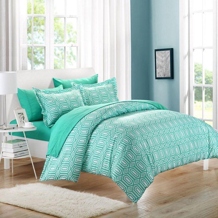 Tina Turquoise Duvet Cover & Pillow Shams Set