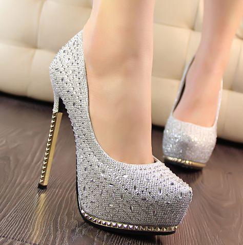 Mulheres bombas de salto alto plataforma prata strass rodada Toe fechado sapatos de salto alto banquete de casamento sapatos de salto fino de Metal alishoppbrasil