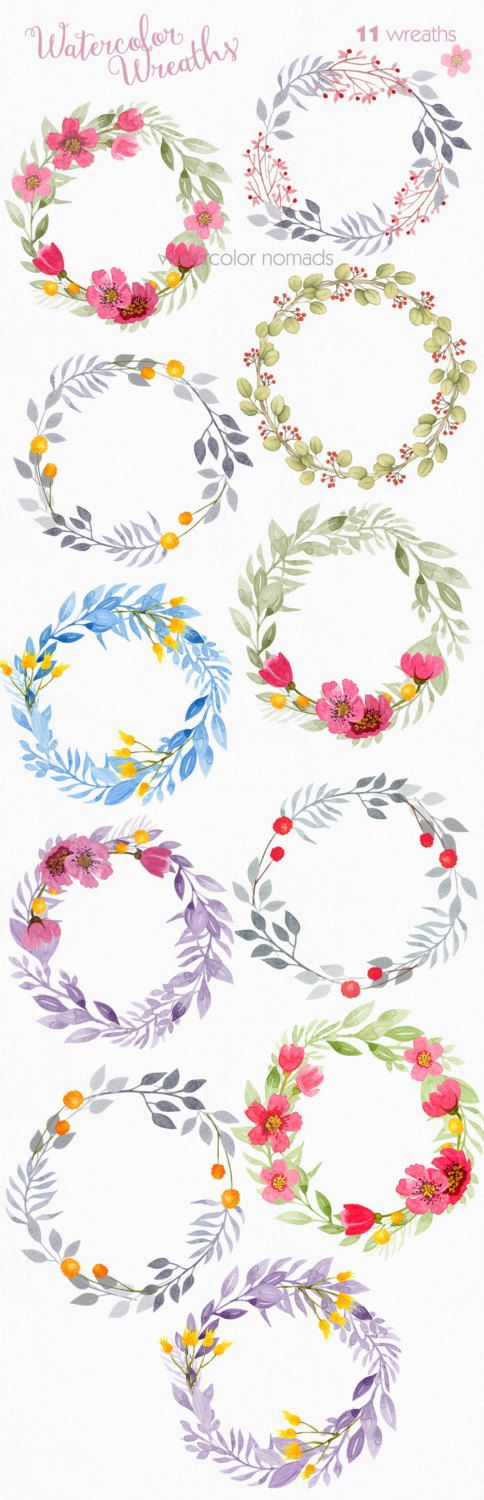 Use coupon our coupon codes to save on your order - see last picture Digital watercolor clipart for personal or small commercial use Watercolor wreaths - quality watercolor elements collection ------------------------------------ - 11 High resolution 300 dpi transparent background png elements - Approximate size of elements 2200 to 3150 px - All files are archived in ZIP. You need to un-zip the archives. - PNG files are editable in almost any picture editing program. Note that in some p...