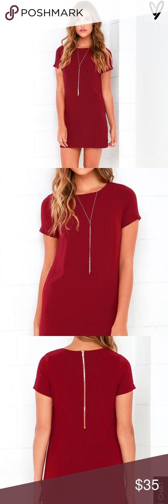 Like New Chic Wine Red Shift Dress Exposed gold zipper at back. Shift silhouette falls into a flirty, leg-baring length :) Lulus Dresses Mini