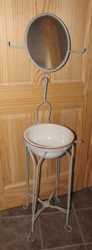 Antique 1900 S Cast Iron Floor Shaving Stand Oval