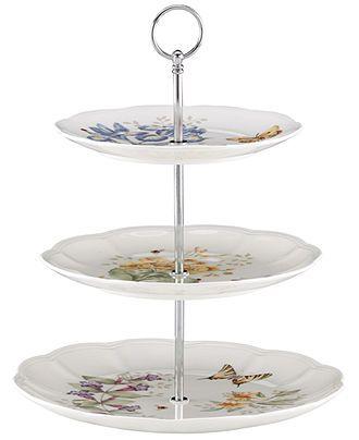 Lenox Dinnerware, Butterfly Meadow 3 Tiered Server - Casual Dinnerware - Dining & Entertaining - Macy's
