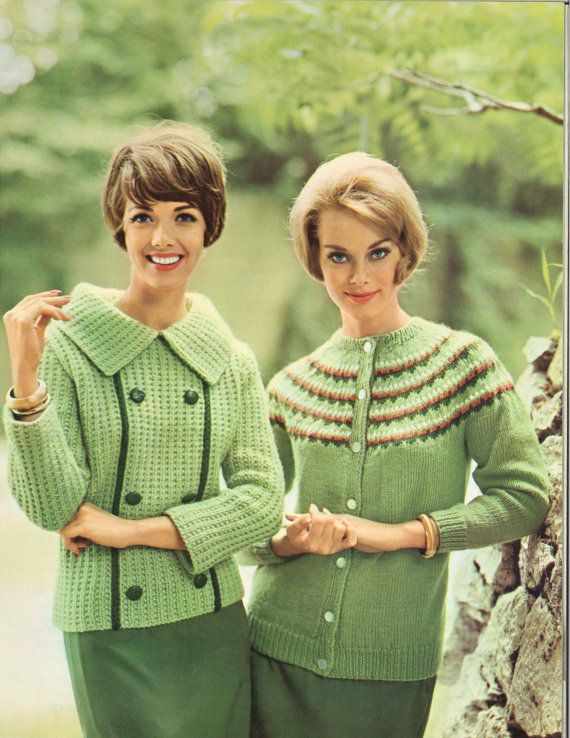 Spring Buds • 1960s Pullover Cardigan Sweater Patterns • 60s Vintage Ribbed Color Knitting Jumper Pattern • Retro Knit PDF