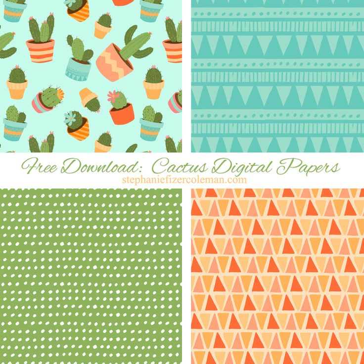 Free Download: Cactus Digital Papers — Stephanie Fizer Coleman - children's illustrator & licensed artist