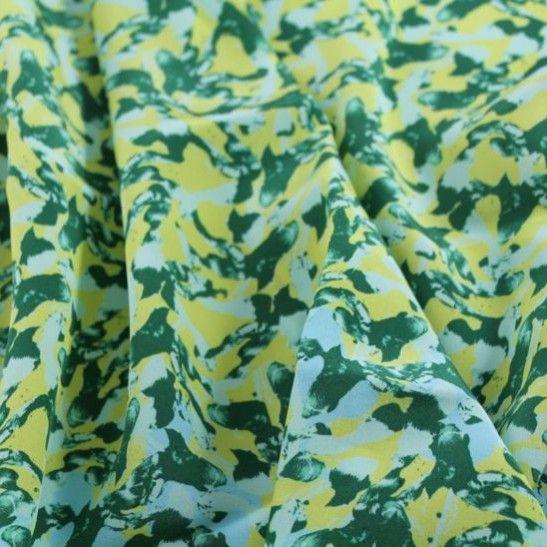 Walk in the Woods Designer Silk Crepe de Chine - Green/Yellow/Aqua - Gorgeous FabricsGorgeous Fabrics