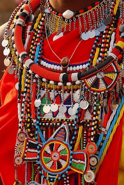 Beautiful and bright masai jewellery worn by a young masai woman in Kenya