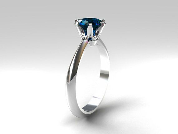 London blue topaz solitaire engagement ring made from white gold by TorkkeliJewellery, $1379.00
