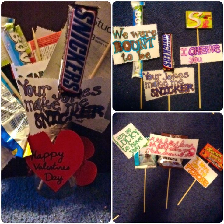 This was my Valentines day gift for my boyfriend! I bought candies and little things that he likes and taped them onto barbecue sticks. Then I put cut…