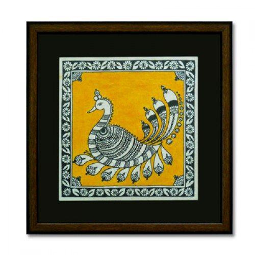Kalamkari style painting of a peacock