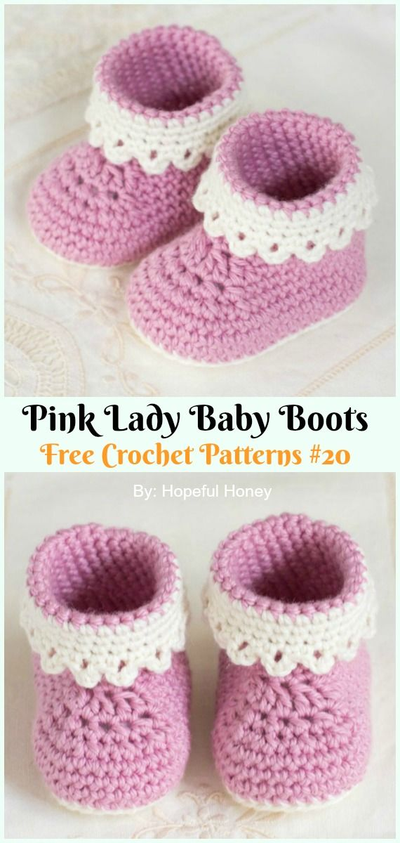 Pink Lady Baby Boots Crochet Free Pattern Crochet Ankle High