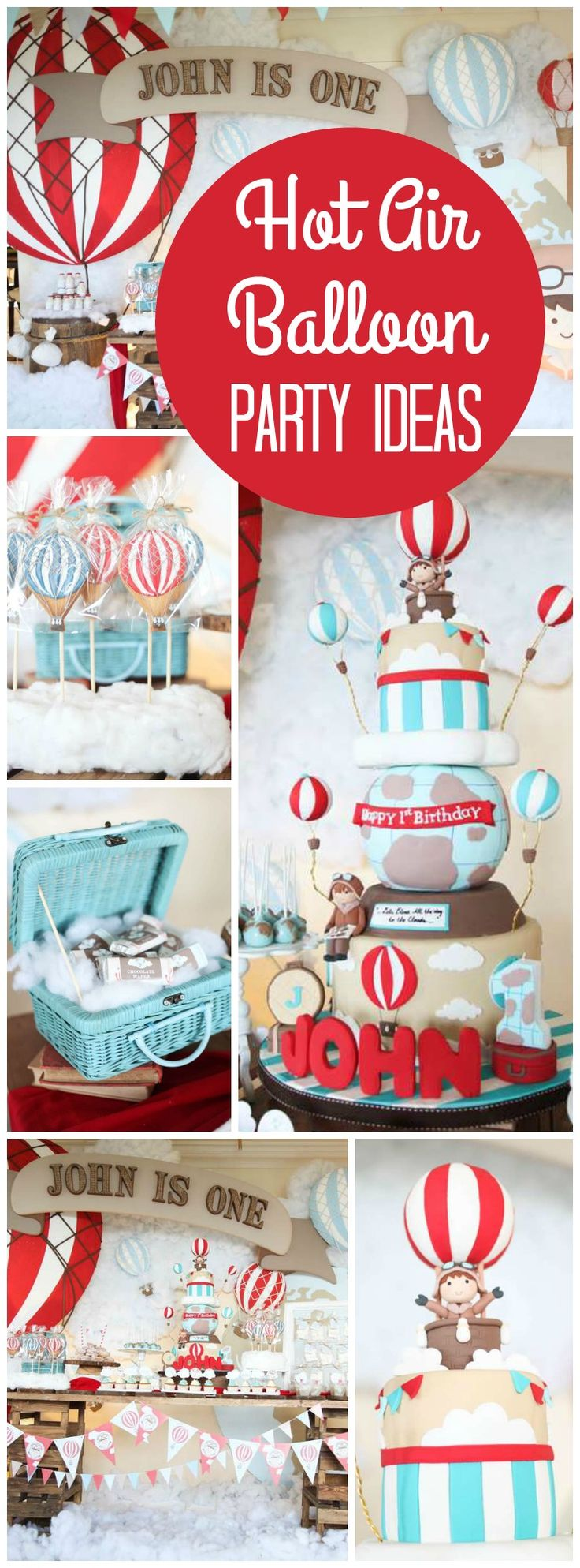 Here's a rustic hot air balloon party in red, mint and brown! See more party ideas at CatchMyParty.com!