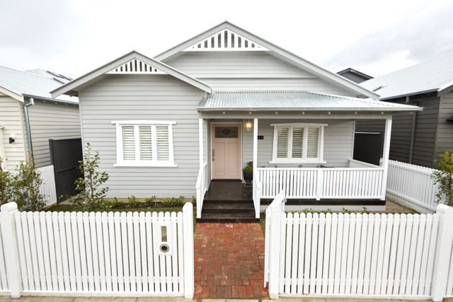 The Block series 13 front facade and garden reveals - walls:Flooded Gum (Accent), trim: Exteriors Gloss White (Accent)