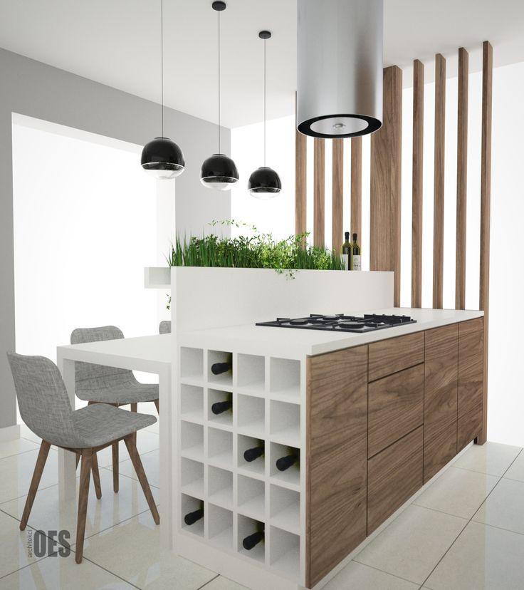 ażurowa ściana w kuchni, wyspa kuchenna, biała kuchnia z drewnem w roli głównej