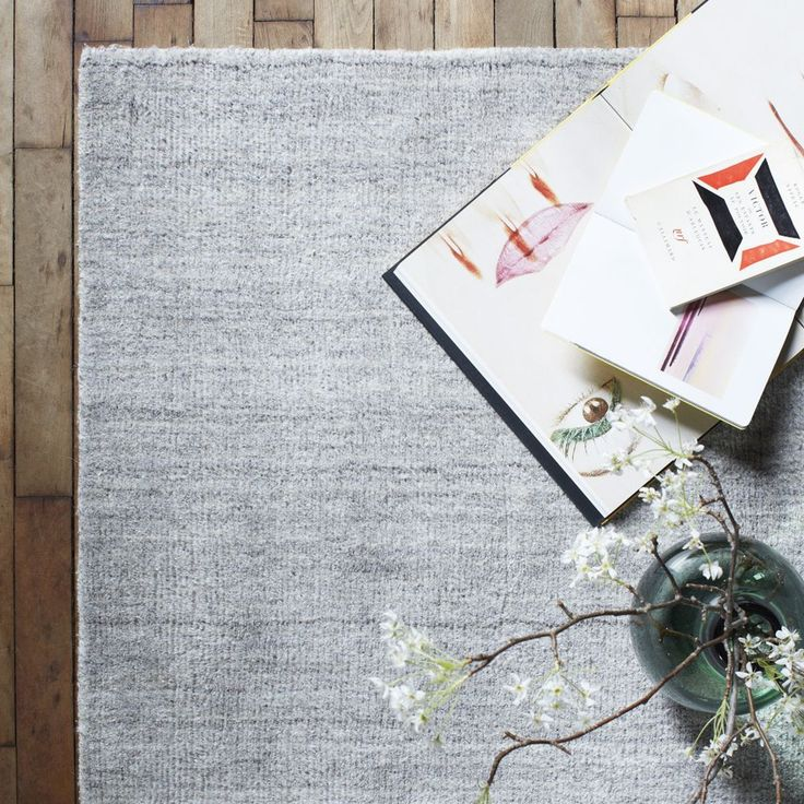 Hand-Loomed Shine Rug- Silver WEST ELM http://www.westelm.com.au/hand-loomed-strie-shine-rug-t1295